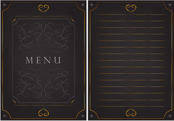 "Black postcard with patterns. The inscription ""menu"""