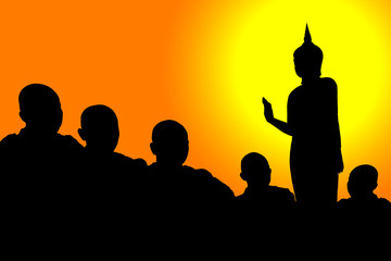 The silhouette of a Buddha image