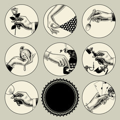 Set of round images in vintage engraving style with body parts and accessories
