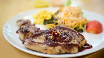 Pork chop with BBQ gravy