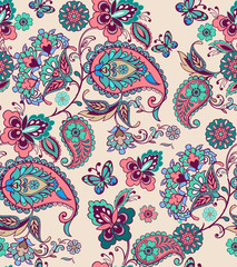 Fantastic floral seamless ornament with decorative butterflies. Oriental seamless ornament with paisley. Decorative ornament backdrop for fabric, textile, wrapping paper