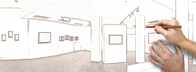 Drawing and planned exhibition gallery