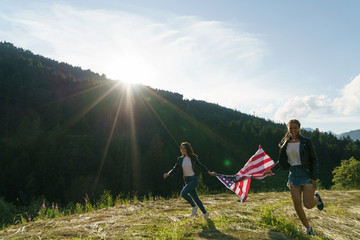 Women running with flag