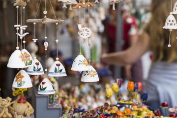 Ceramic bells as a souvenir in local traditional market.