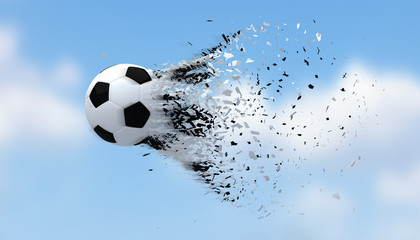Fast shooting football black and white color with blurred blue sky background.3D Rendering