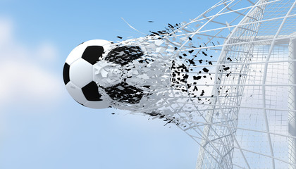 Fast football black and white color shooting Goal with blurred blue sky background.3D Rendering