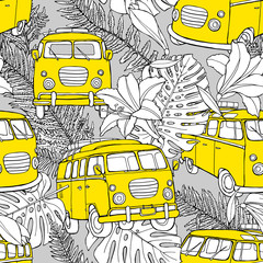 Seamless pattern with image of a retro mini bus in a flowers and leaves. Vector illustration.