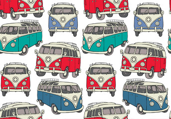 Seamless pattern with image of a retro mini bus. Vector illustration.