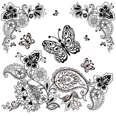 Ornament with paisley and butterflies for antistress coloring. Fantastic flowers and butterflies isolated on white