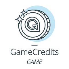 Gamecredits cryptocurrency coin line, icon of virtual currency