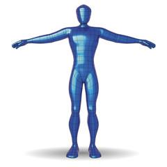 Human figure polish metallic paint wireframe man
