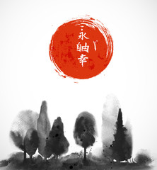 Ink wash painting with forest trees in fog and red sun. Traditional Japanese ink painting sumi-e. Contains hieroglyphs - eternity, freedom, happiness, clarity. Vector illustration on white background