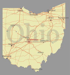 Ohio detailed exact detailed vector State Map with Community Assistance and Activates Icons Original pastel yellow Illustration with main roads. United States of America
