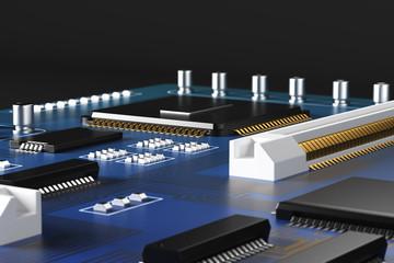 Blue motherboard closeup