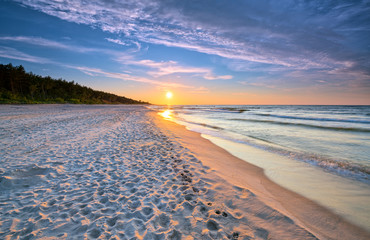 Sunset on the beach on the Baltic Sea. HDR - high dynamic range Wall mural