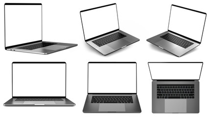 Set of laptops in different positions.