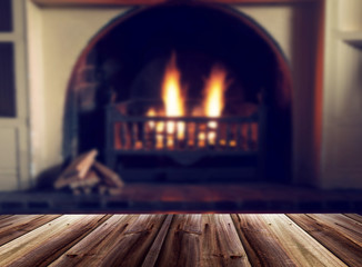 Blurred image of fireplace as a background