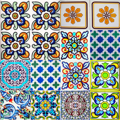 Garden Poster Moroccan Tiles Detail of the traditional tiles from facade of old house. Decorative tiles.Valencian traditional tiles. Floral ornament. Majolica, Watercolor