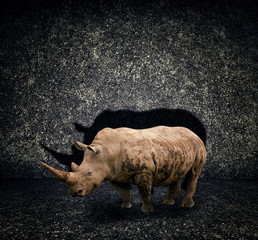 Rhino on dark abstract baackground