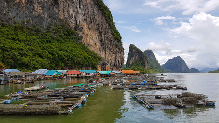 Fish farms in Phang Nga Bay