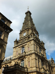 halifax town hall in calderdale west yorkshire hall showing tower and clock