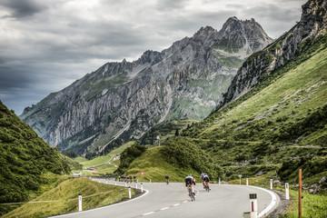 Cyclists in St Anton am Arlberg, Austria