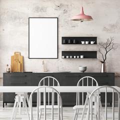 Mockup interior kitchen in loft style. 3d rendering. 3d illustration.