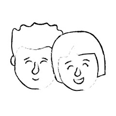 figure avatar couple head with hairstyle design