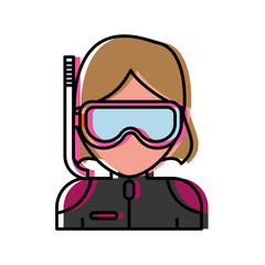 woman with snorkel mask icon