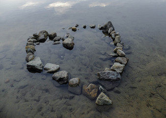 Heart Rock in Lake