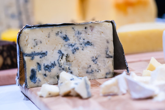Cashel Blue cheese on a cheeseboard.