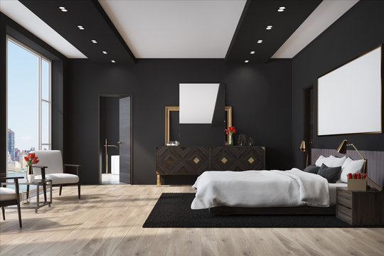 Black bedroom with a poster, closet