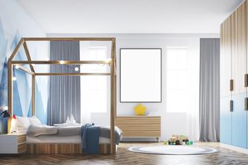 Kid s bedroom interior, poster, side