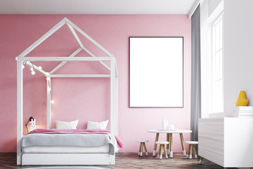 Girl s bedroom interior, poster