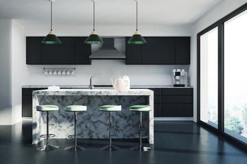 White kitchen, dark marble bar