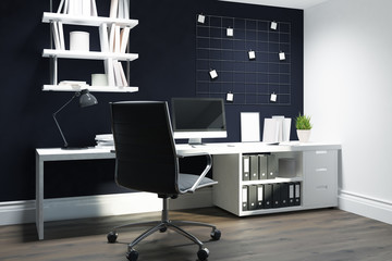 Black wall home office, black chair side view