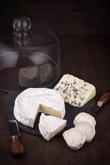 Variety of French cheeses