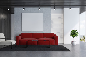 Red sofa living room with a poster