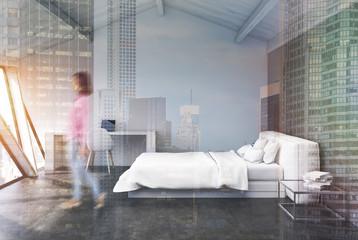 White bedroom in an attic, concrete, girl