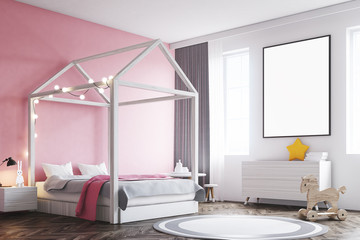 Girl s bedroom interior, poster, corner