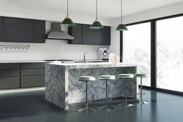 White kitchen marble bar