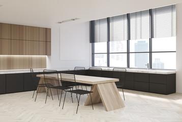 Wooden kitchen interior, dark countertops