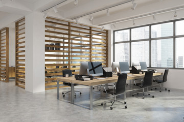 Open office interior with plank walls