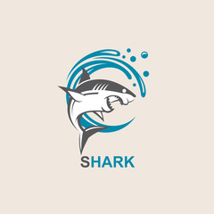 icon of angry shark with sea waves