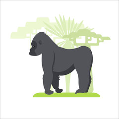 Image in a flat style, gorilla cartoon on the grass and in the background growing trees