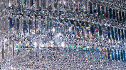 Luxury Crystal Chandelier. Close up on the crystal of a contemporary decoration.