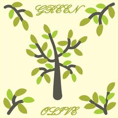 Vector tree olive. Branch olive Clip Art