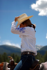 Middle Aged Woman in Cowboy Hat