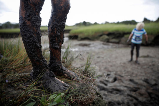 Boys play in a mud bog in a marsh at low tide in Barnstable Harbor on Cape Cod