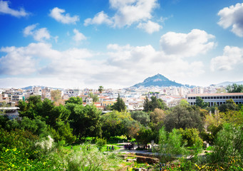 Cityscape of Athens with Agora and Lycabettus Hill, Greece, retro toned